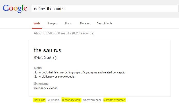 "Google search result for ""define: thesaurus"""