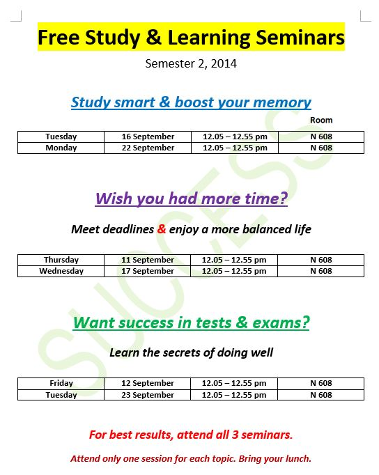 Free study and learning seminars