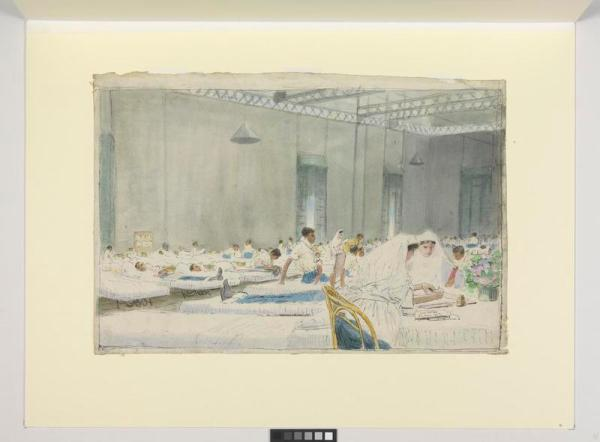 A Hospital Ward : a dysentery ward of the General Hospital at Port Said. James McBey 27 June 1917. © IWM (Art.IWM ART 2941)